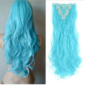 """Accessories - Hair Extension 8 Piece 24"""" Curly Wavy #7 Sky Blue"""